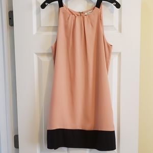 Pink and Black Strap Sleeves Shift Dress - M